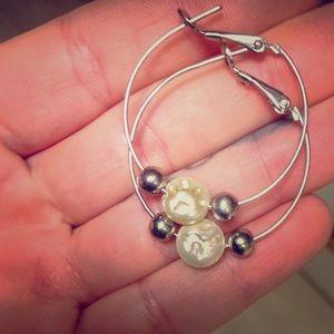 🆕❣️Cookie Lee silver pearl hoop earrings